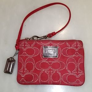 Coach Red & Silver Signature Poppy Wristlet